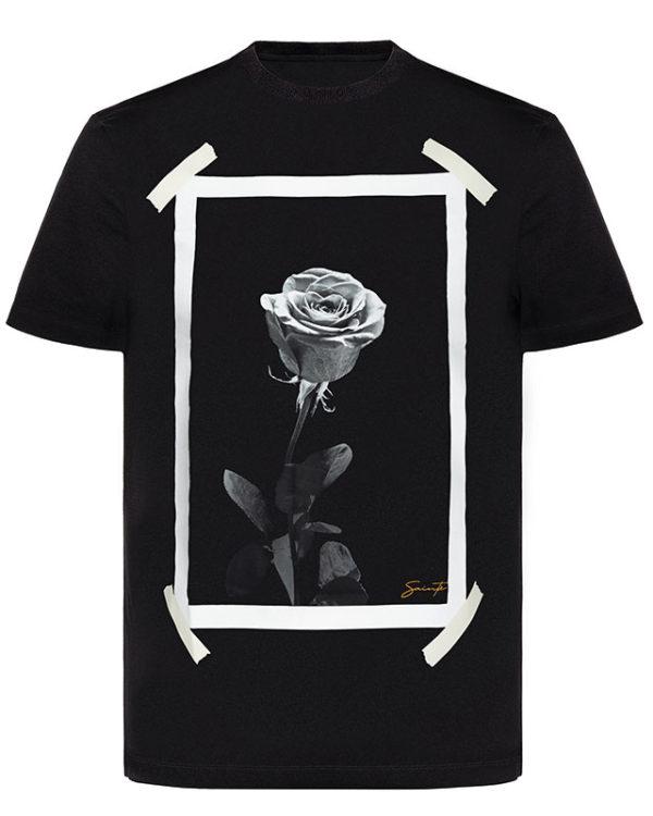 Plastered Rose Black T-Shirt Image