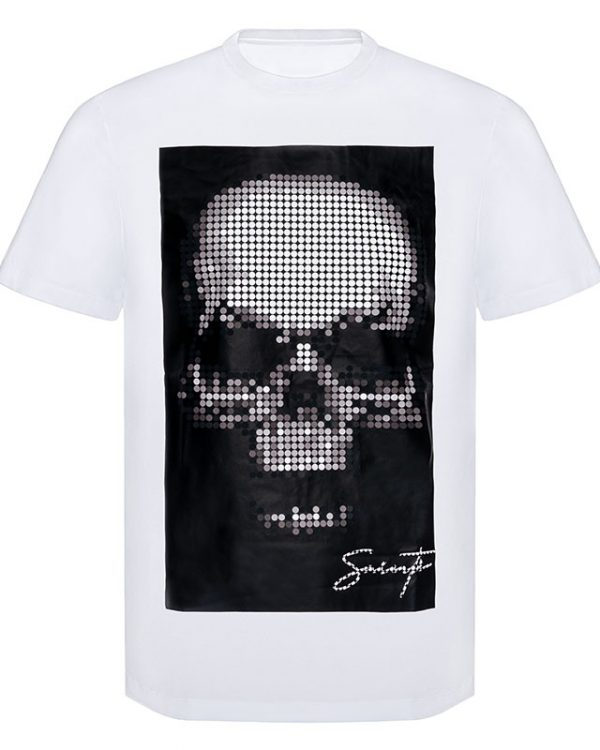 Pixel Skull Art T-Shirt Image
