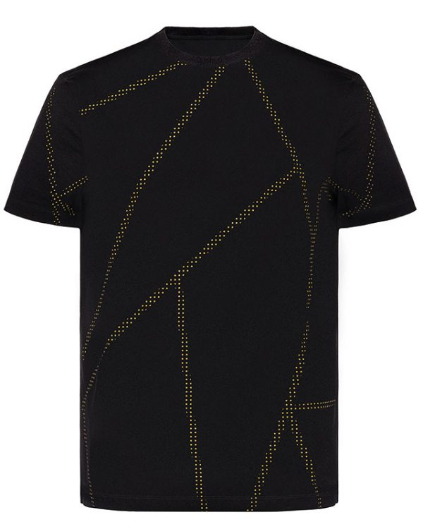 Dotted Stripe Black T-Shirt
